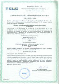 Certyfikat ZKP Tarnow - Elementy scienne z betonu komorkowego - polski