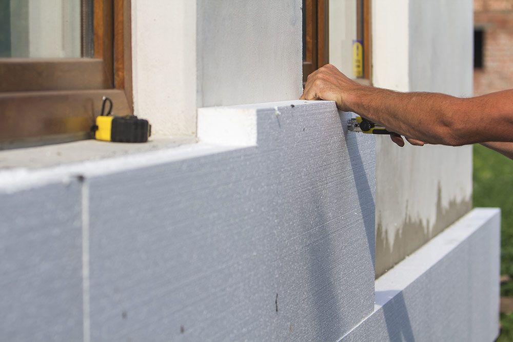 ściany dwuwarstowe mur termalica + styropian